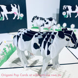 Black spotted cow Origami Pop Card