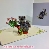 Koala mum and baby - flowering gum Origami Pop Card
