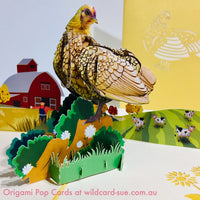 Golden Hen  Origami Pop Card