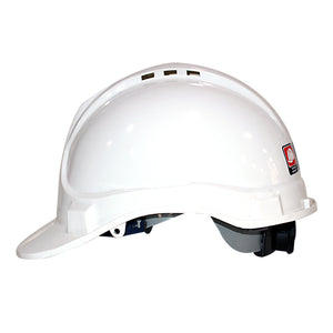 casco de seguridad color blanco  con barbuquejo de dos puntos.