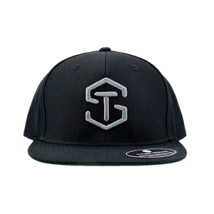 black hat with silver tyler seguin logo on front
