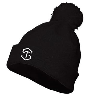 black knit hat with pom pom and white tyler seguin logo on front