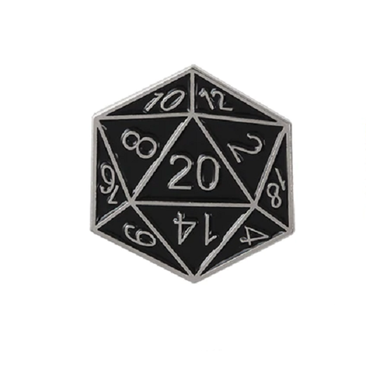 Silver D20 Dice Pin