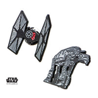 Star Wars Episode 8 Cut Out AT-AT and Tie Fighter Enamel Lapel Pin Set