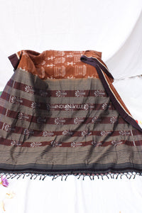 Caramel Brown Contemporary Cotton Saree - IndianVillèz