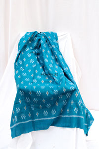Turquoise Blue and Flower Motif Ikat Cotton Handloom Yardage