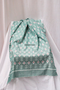 Green Geometric Motif Ikat Cotton Handloom Yardage
