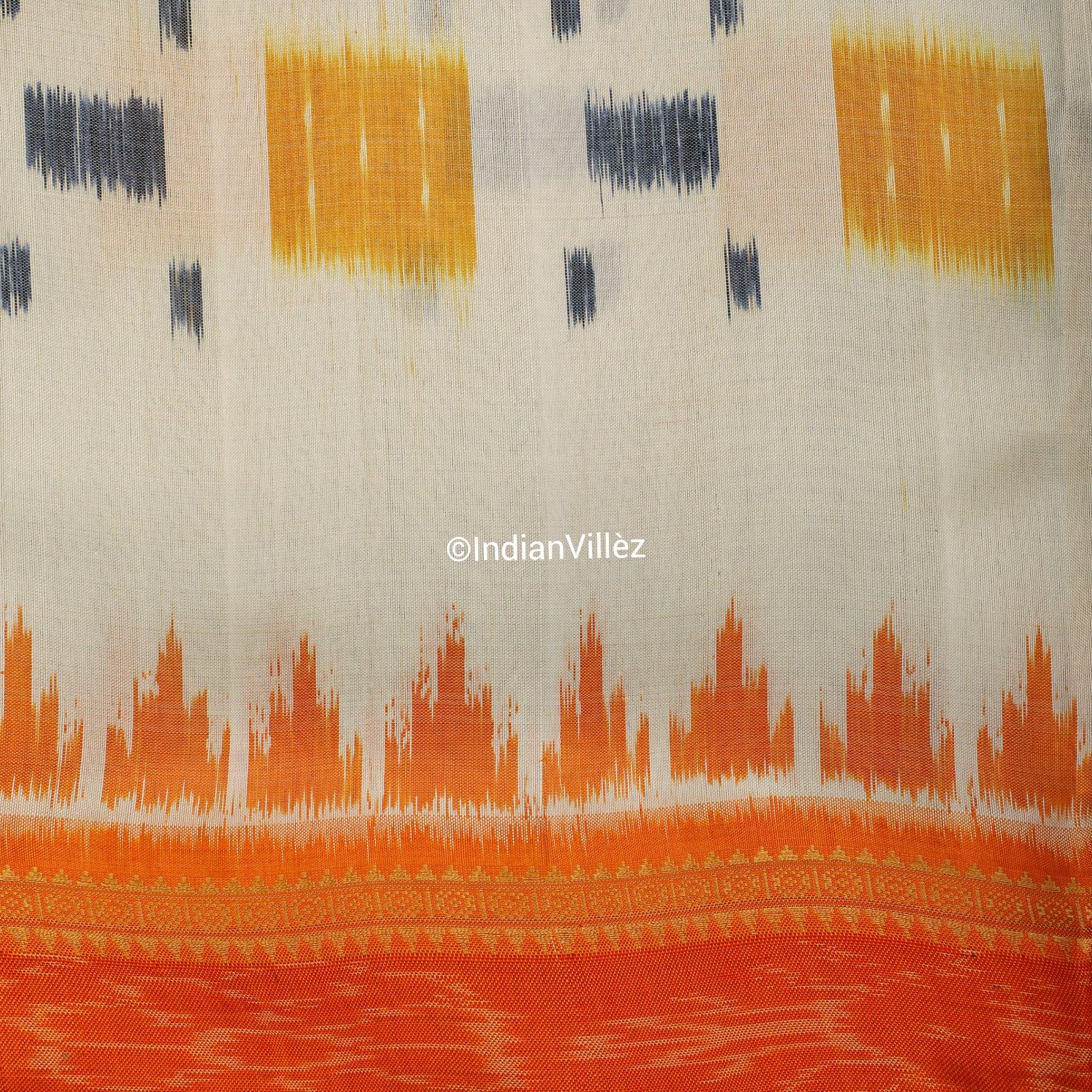 White Contemporary Khandua Handloom Silk Saree