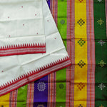 Load image into Gallery viewer, Off-White Berhampuri Double Palla Silk Handloom Saree