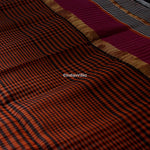 Load image into Gallery viewer, Black Checkered Maheshwari Handloom Saree With Resham Border