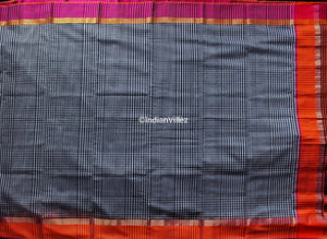 Black Checkered Maheshwari Handloom Saree With Resham Border