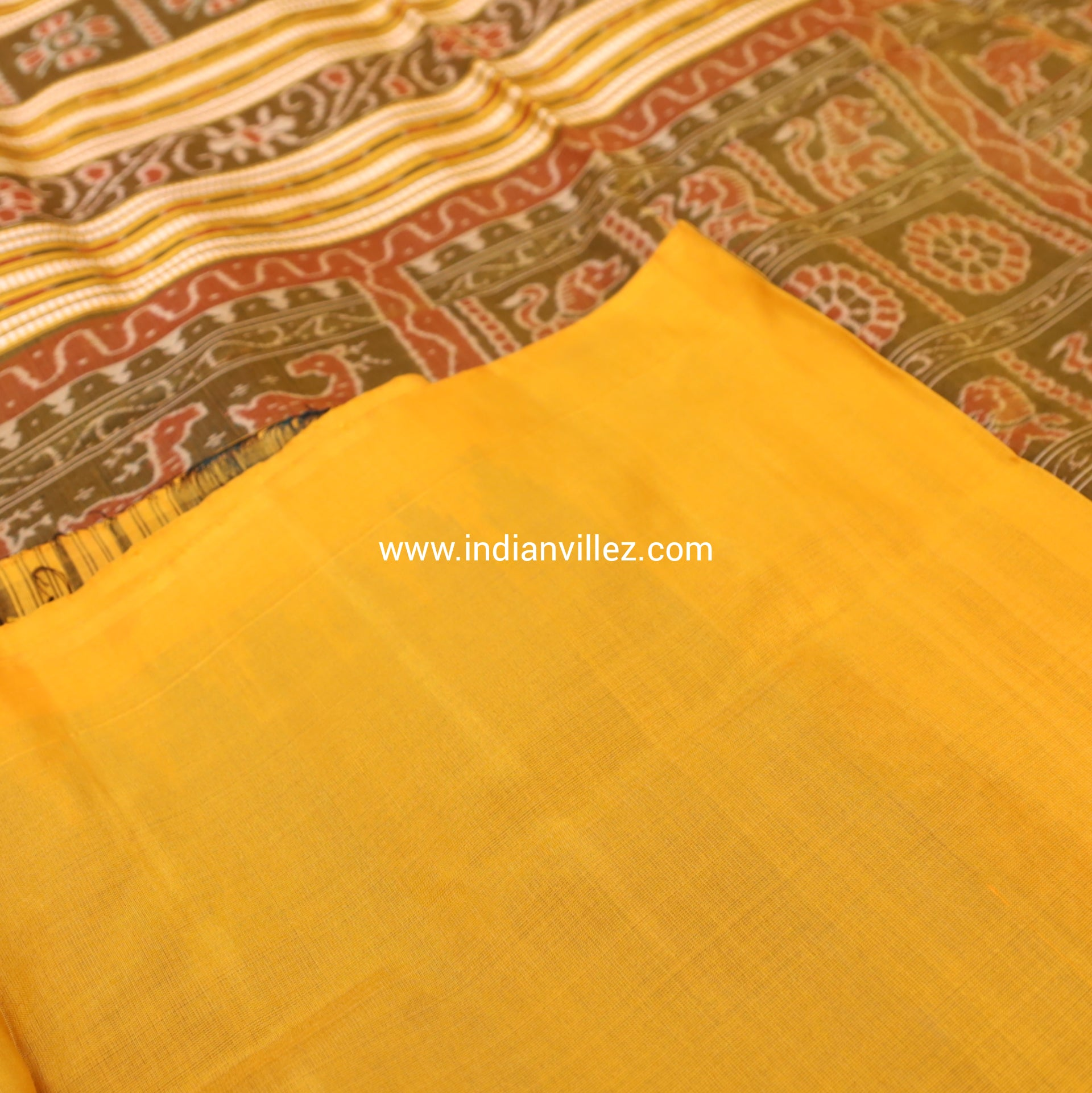 Sea Green with Yellow Kumbha Sambalpuri Handloom Saree