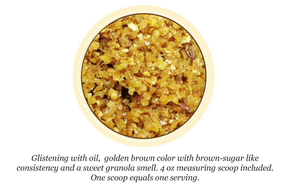 Image of RevolutionEQ+MSM inside the bucket. It's a sweet smelling yellow granular mix. Similar in consistency to brown sugar, shiny with oil that smells like fresh granola. for Horses Anti-Inflammatory | Immune Support, All Natural