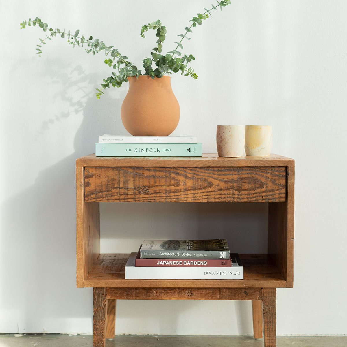Reclaimed Wood End Table Natural Furniture Avocado Green Mattress