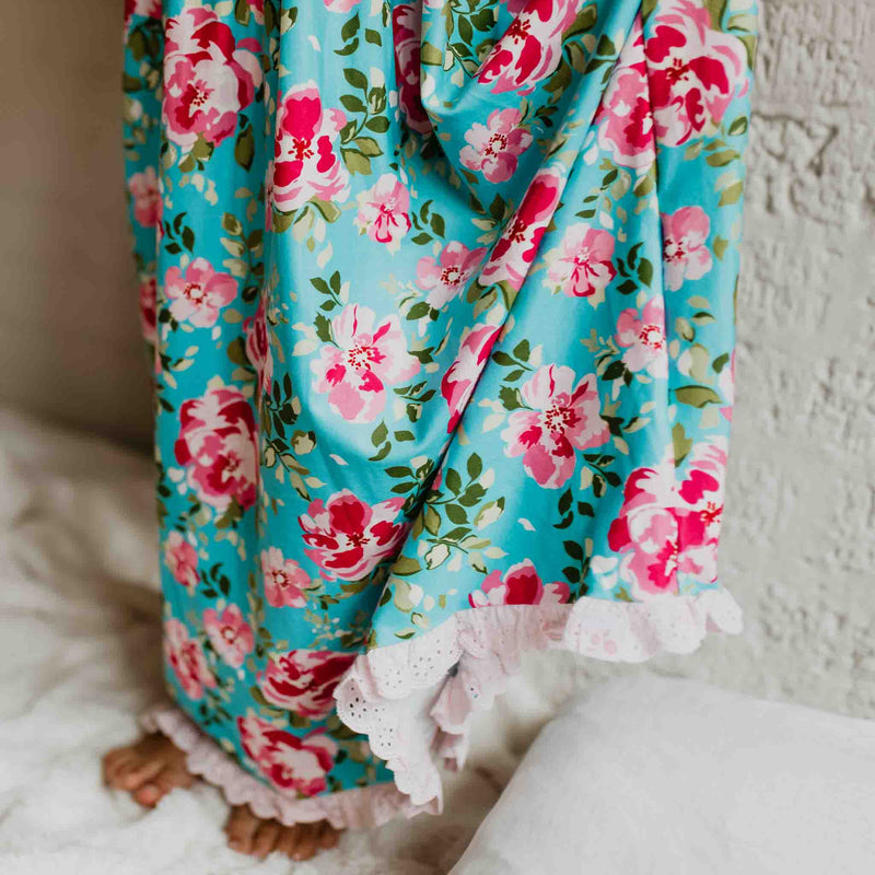Dreamer Long Gown - Swirly Floral Aqua