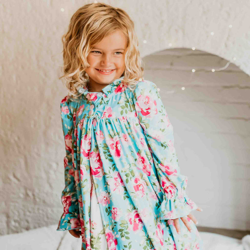 Sweet Ruffled Robe - Swirly Floral Aqua