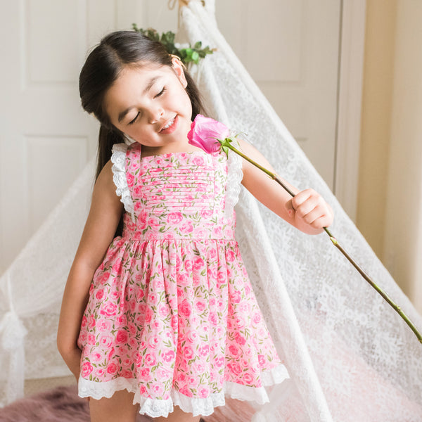 Pinafore Dress - Covered in Roses Pink