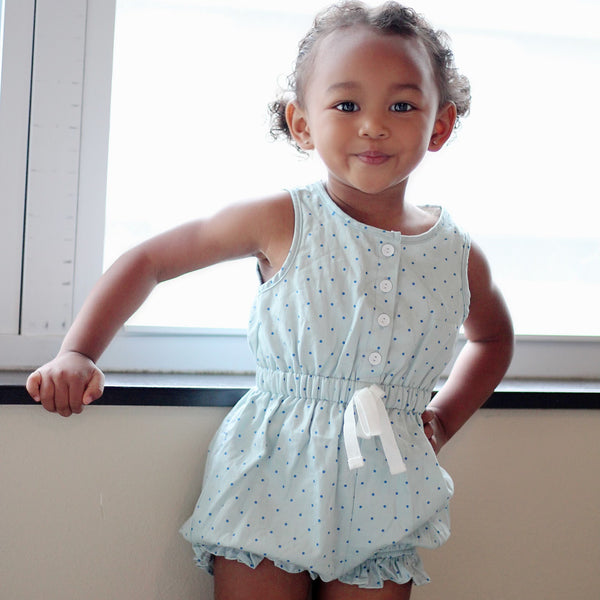 Recess Romper - Chambray Dot