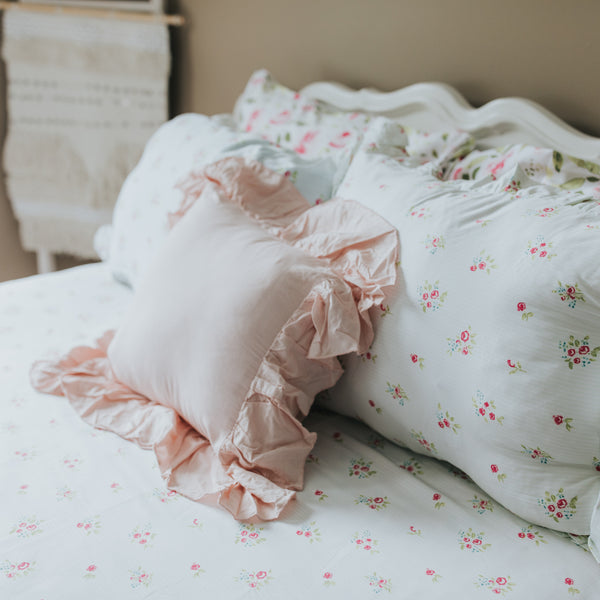 Ruffled Duvet Cover - Floral Stripes