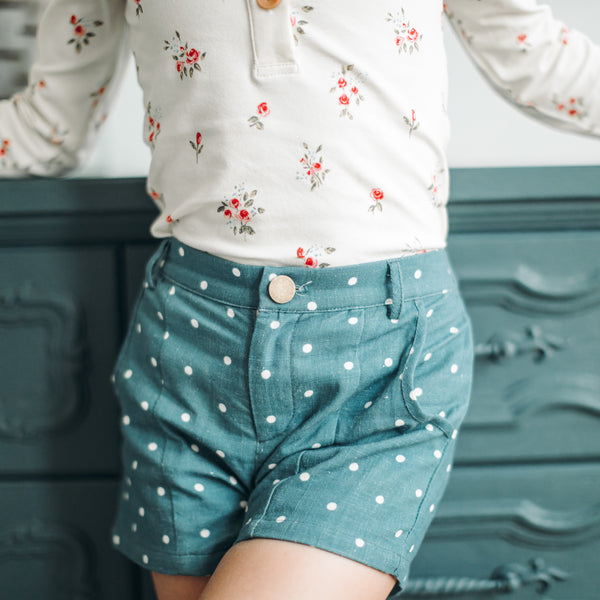 Bicycle Blooms - Navy Dotty