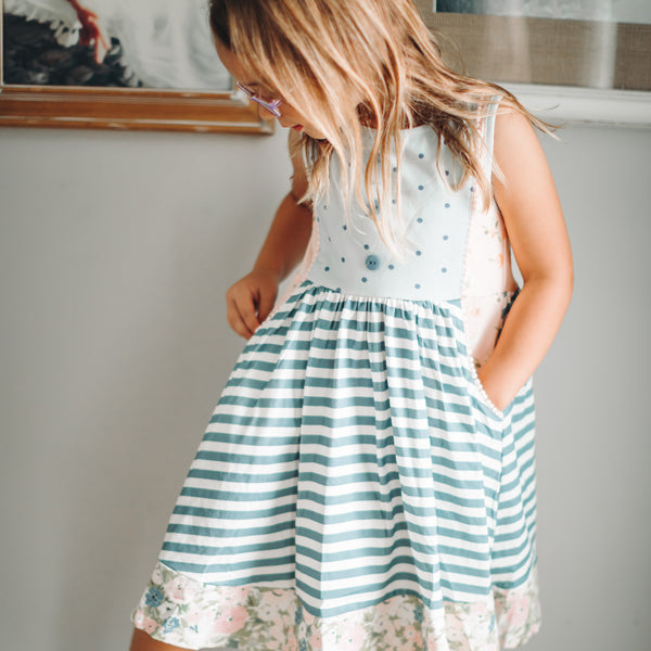 Kate Dress - Stripes & Blooms