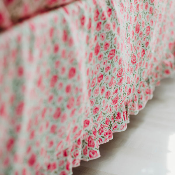Bed Skirt - Covered In Roses Mint