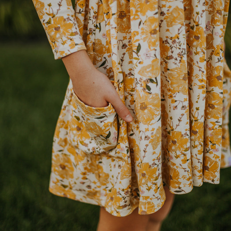 Ribbed Knit Dress - Golden Poppies