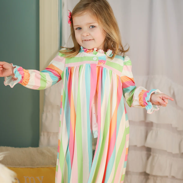 Sweet Ruffled Robe - Cheery Stripe