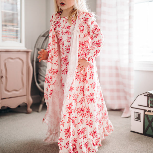 Sweet Ruffled Robe - Rosey Posey