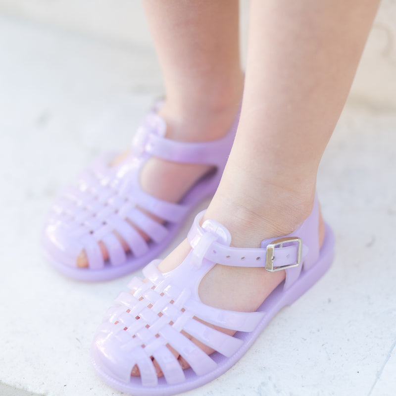 Shimmer Jelly Sandals - Purple
