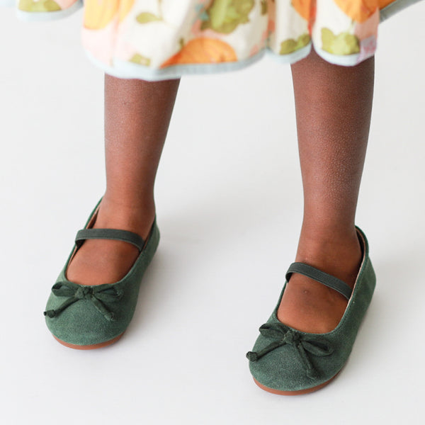 Small Bow Suede Ballet - Green