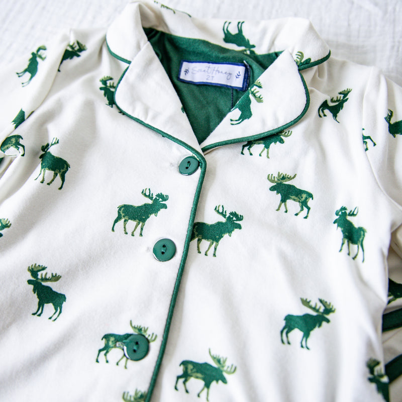 Cozy PJs - Green Moose