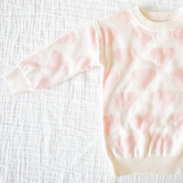 Sweater - Ivory and Soft Pink