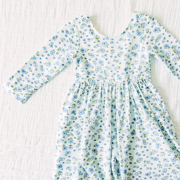 Leggy Sleeved Romper - Baby Blue