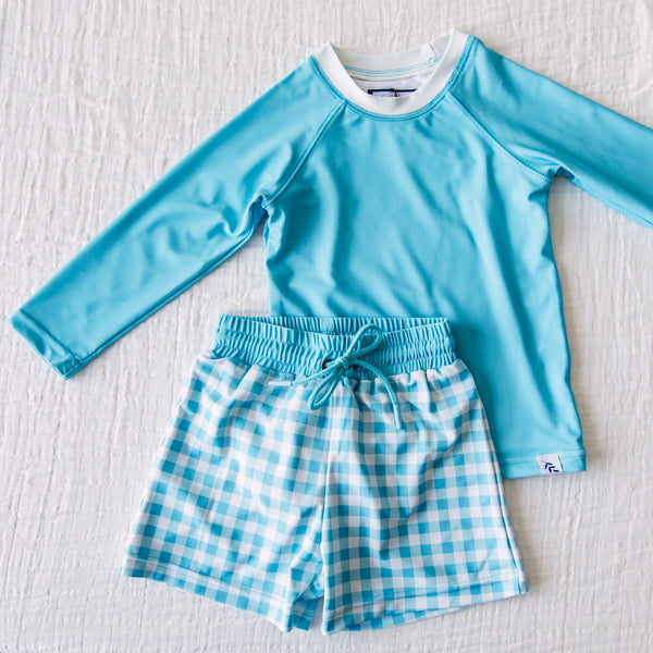Boy's Swim Set – Bright Blue Check