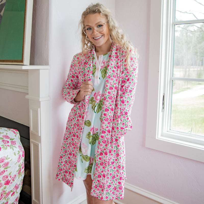 Classic Lounge Robe - Covered in Roses