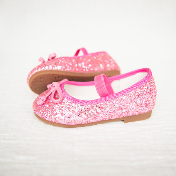 Small Bow Glitter Ballet - Hot Pink