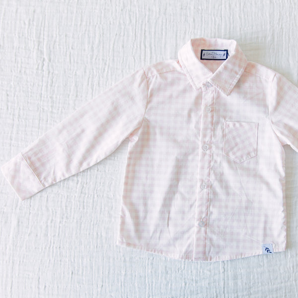 Boy's Button Up Shirt - Pink Check