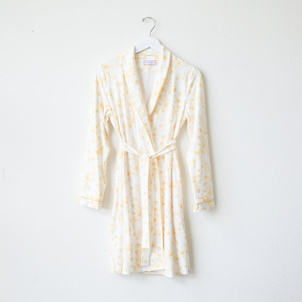 Classic Lounge Robe - Blooms in Yellow