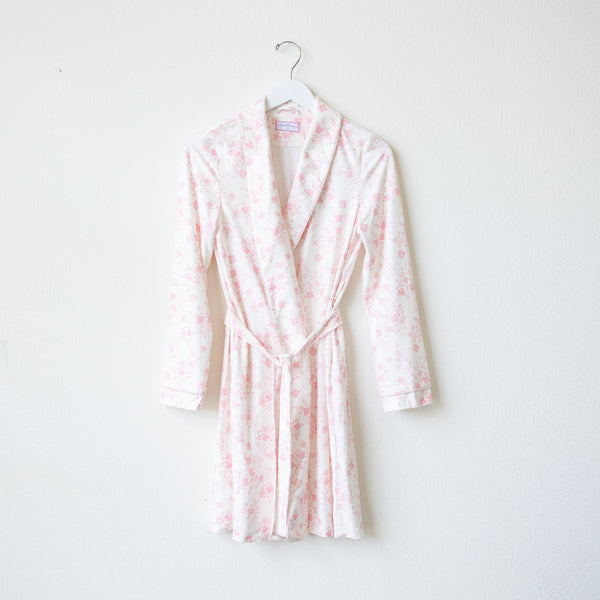 Classic Lounge Robe - Blooms in Pink