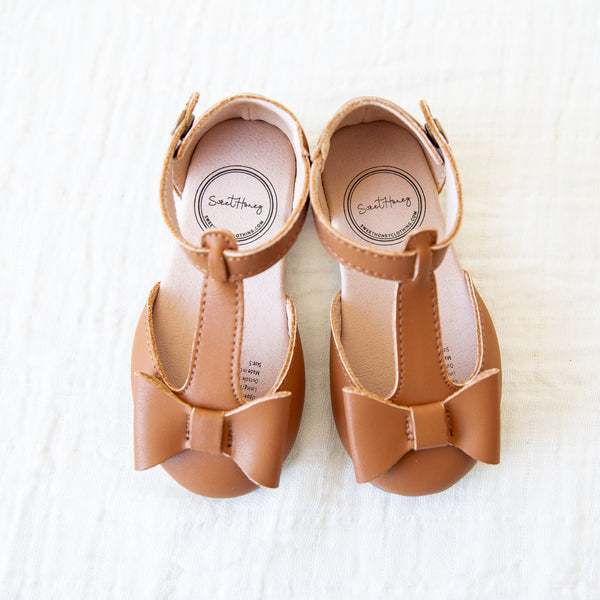 Snap T Strap Bow Mary Jane - Camel