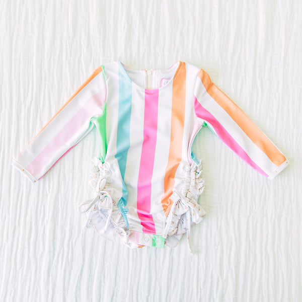 Solid Rash Guard - Cheery Stripes