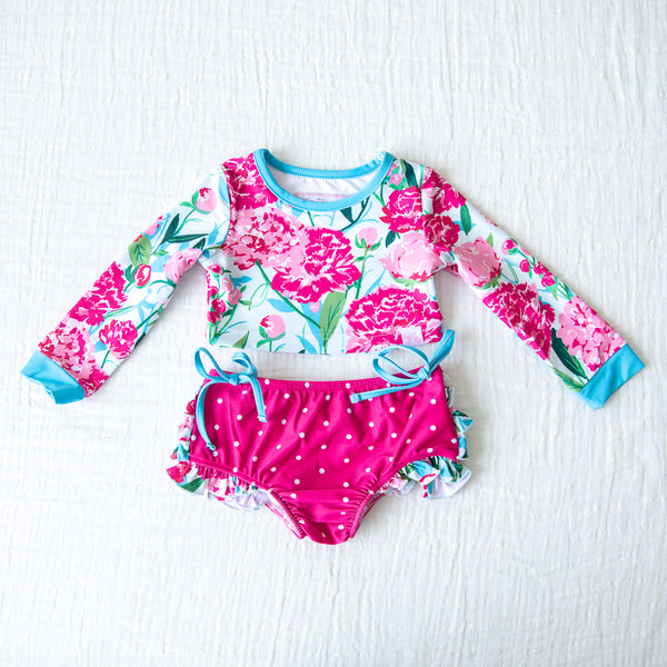 Crop Rash Guard - Bright Peonies