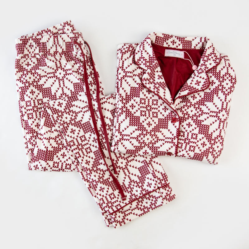 Women's Cozy PJ - Sweater Snowflake Scarlet - Final Sale