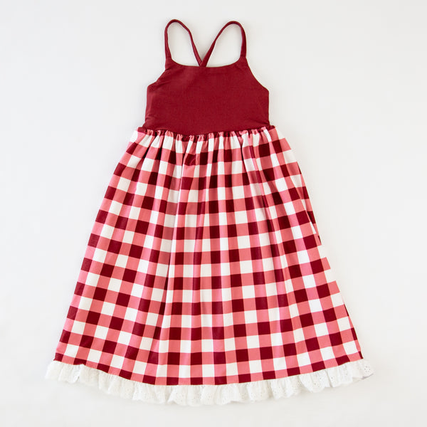 Dreamer Long Gown - Scarlet Check - Final Sale