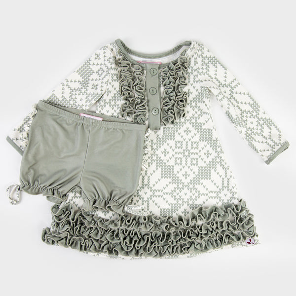 Dreamer Gown - Sweater Snowflake Sage - Final Sale