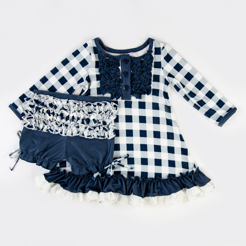 Dreamer Gown - Navy Check - Final Sale