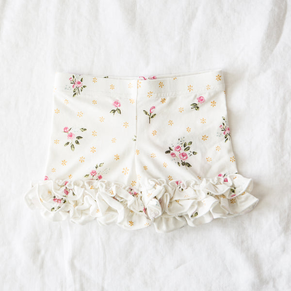 Ruffled Shorties - White Floral