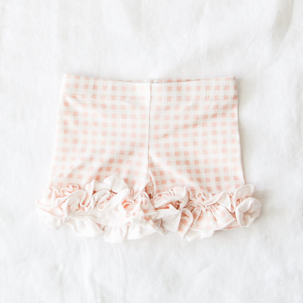 Ruffled Shorties - Strawberry Check