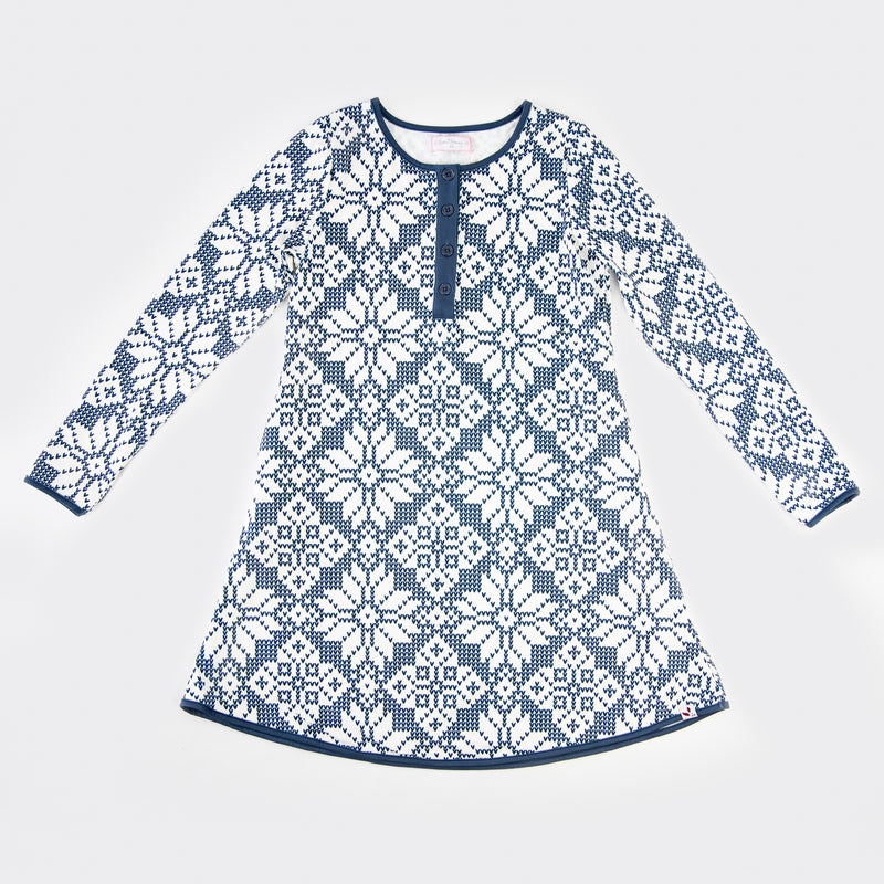 Women's Gown - Sweater Snowflake Navy